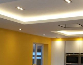 LBM Electrical Blyth - Photo of new installed wiring for kitchen suspended lighting and audio